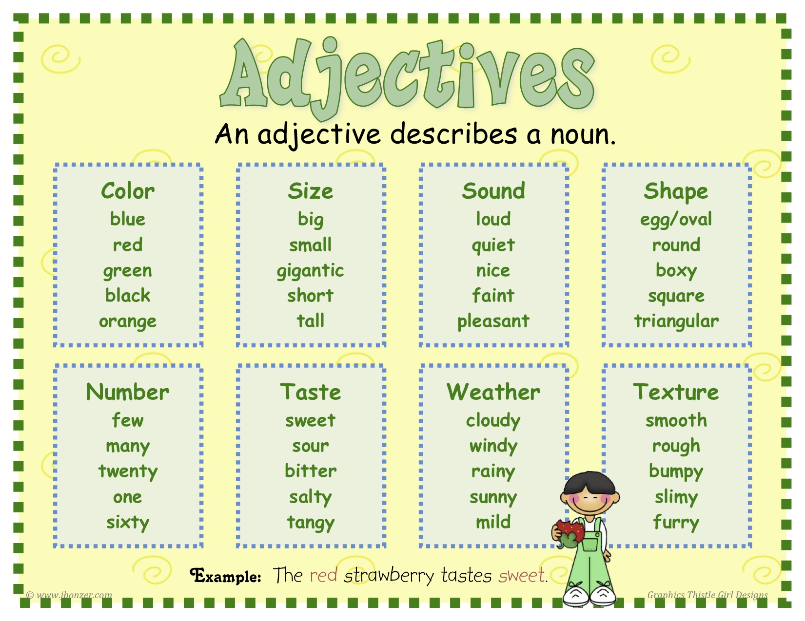 List of Adjectives For Kids Adjectives List For Kids